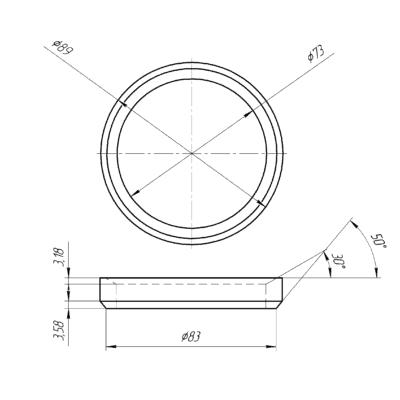 Кольцо резьбовое, приварное D=89мм